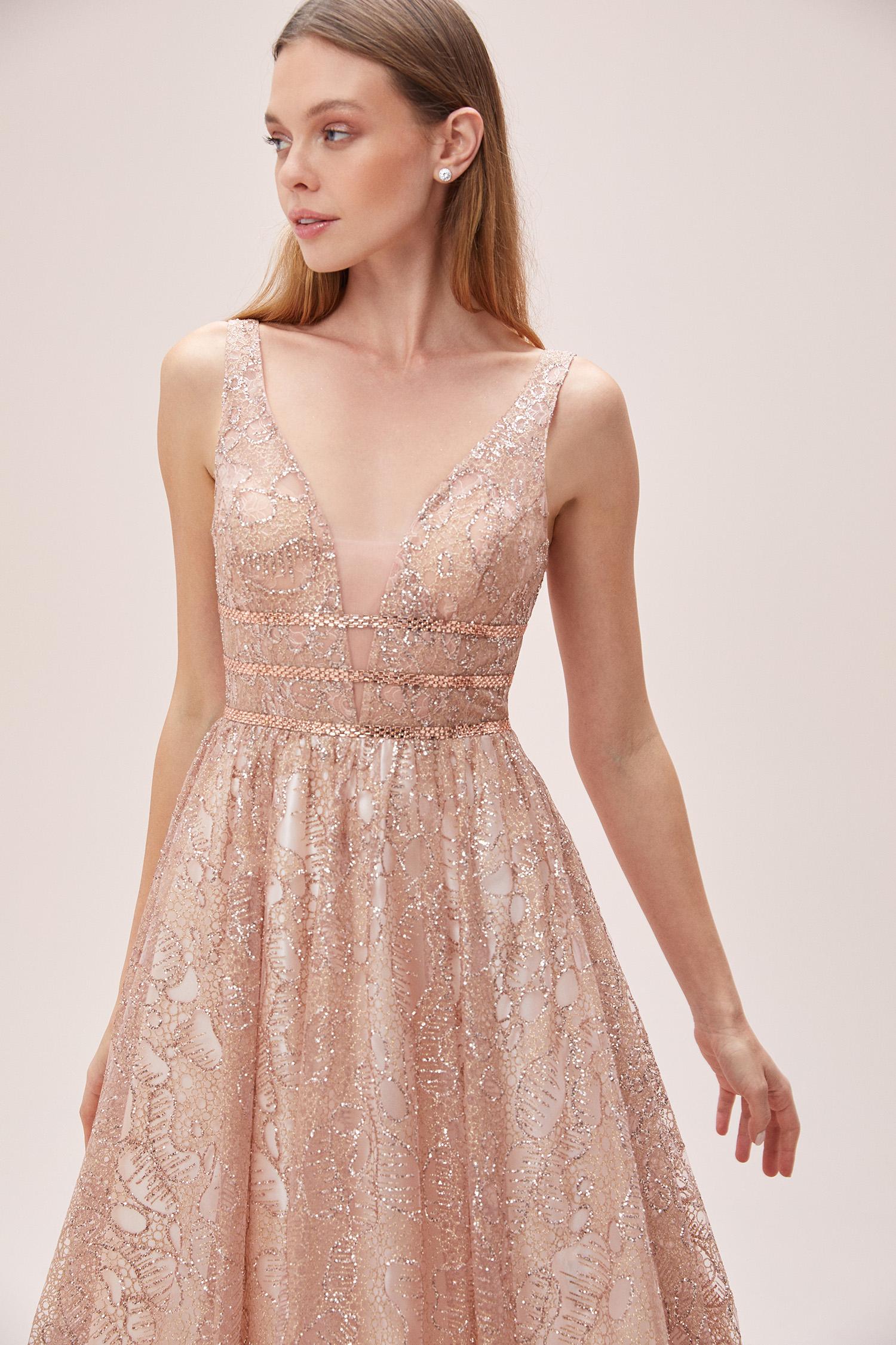 Toz Pembe Askılı V Yaka Işıltılı Romantik Abiye Elbise - Thumbnail