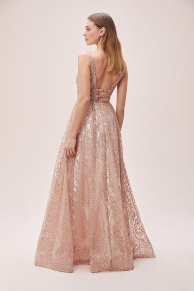 Viola Chan - Toz Pembe Askılı V Yaka Işıltılı Romantik Abiye Elbise (1)