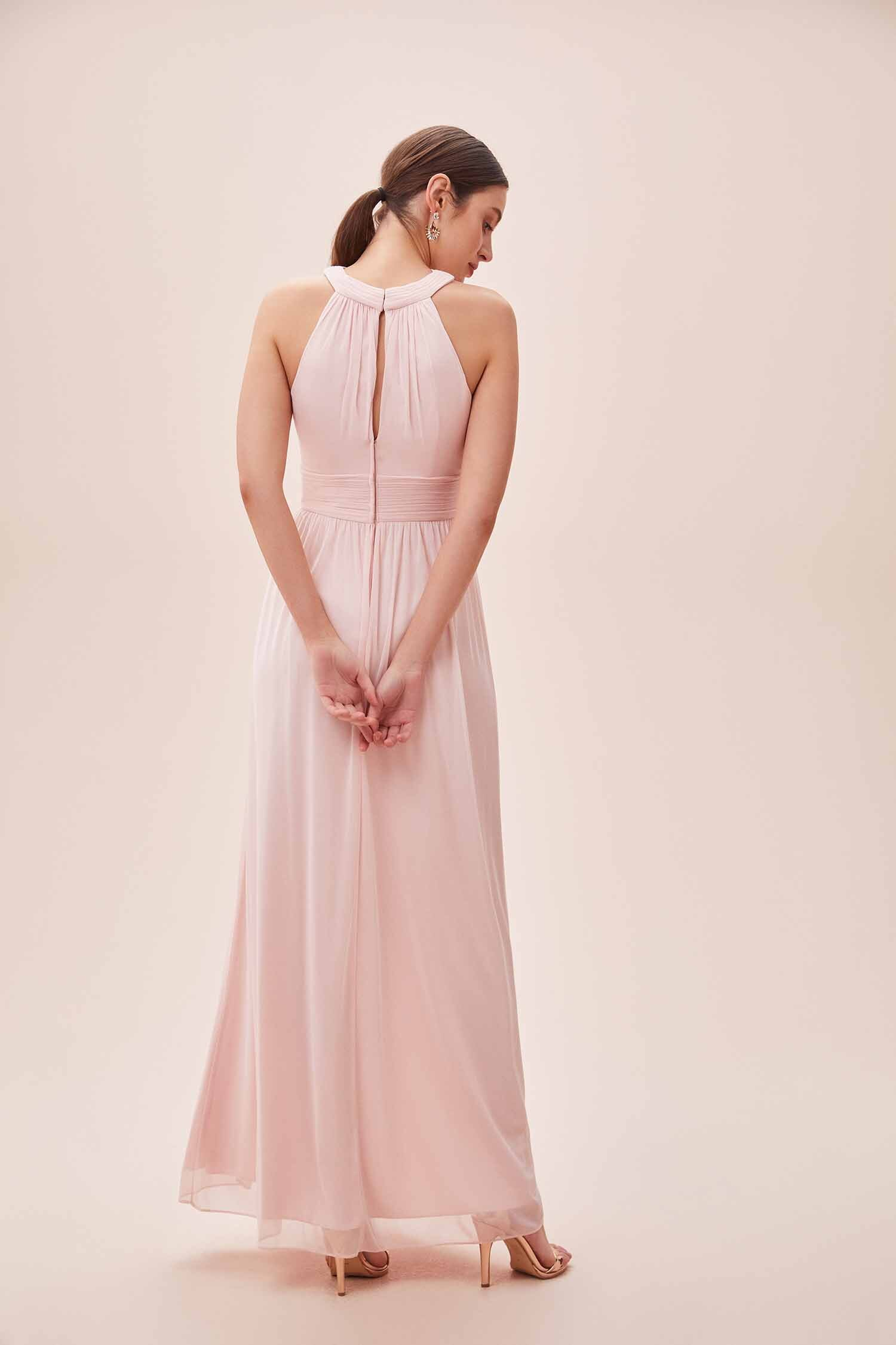 Toz Pembe Çapraz Halter Yaka Yırtmaçlı Elbise - Thumbnail