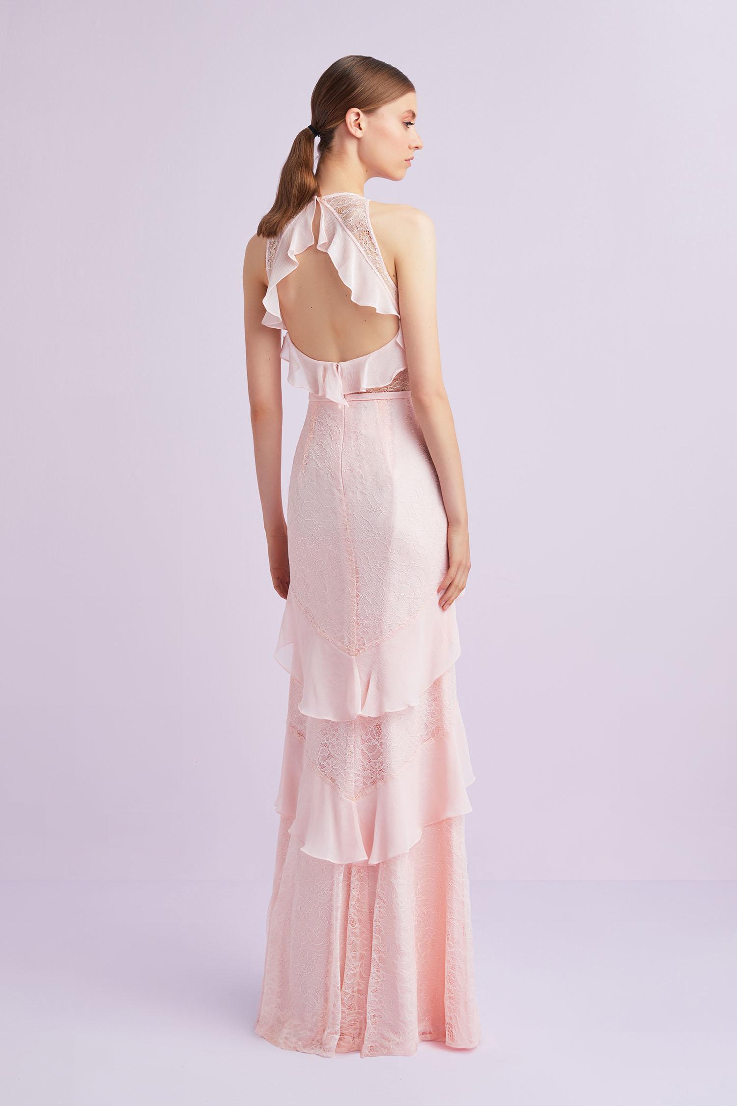 Toz Pembe Halter Yaka Uzun Abiye Elbise - Thumbnail