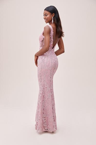 Viola Chan - Toz Pembe Dantelli Transparan Detaylı Uzun Abiye Elbise (1)