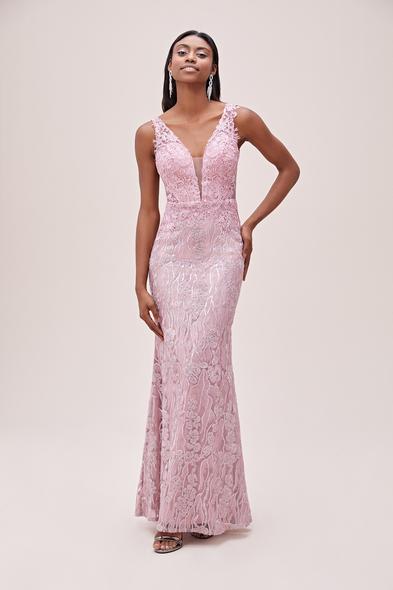 Viola Chan - Toz Pembe Dantelli Transparan Detaylı Uzun Abiye Elbise