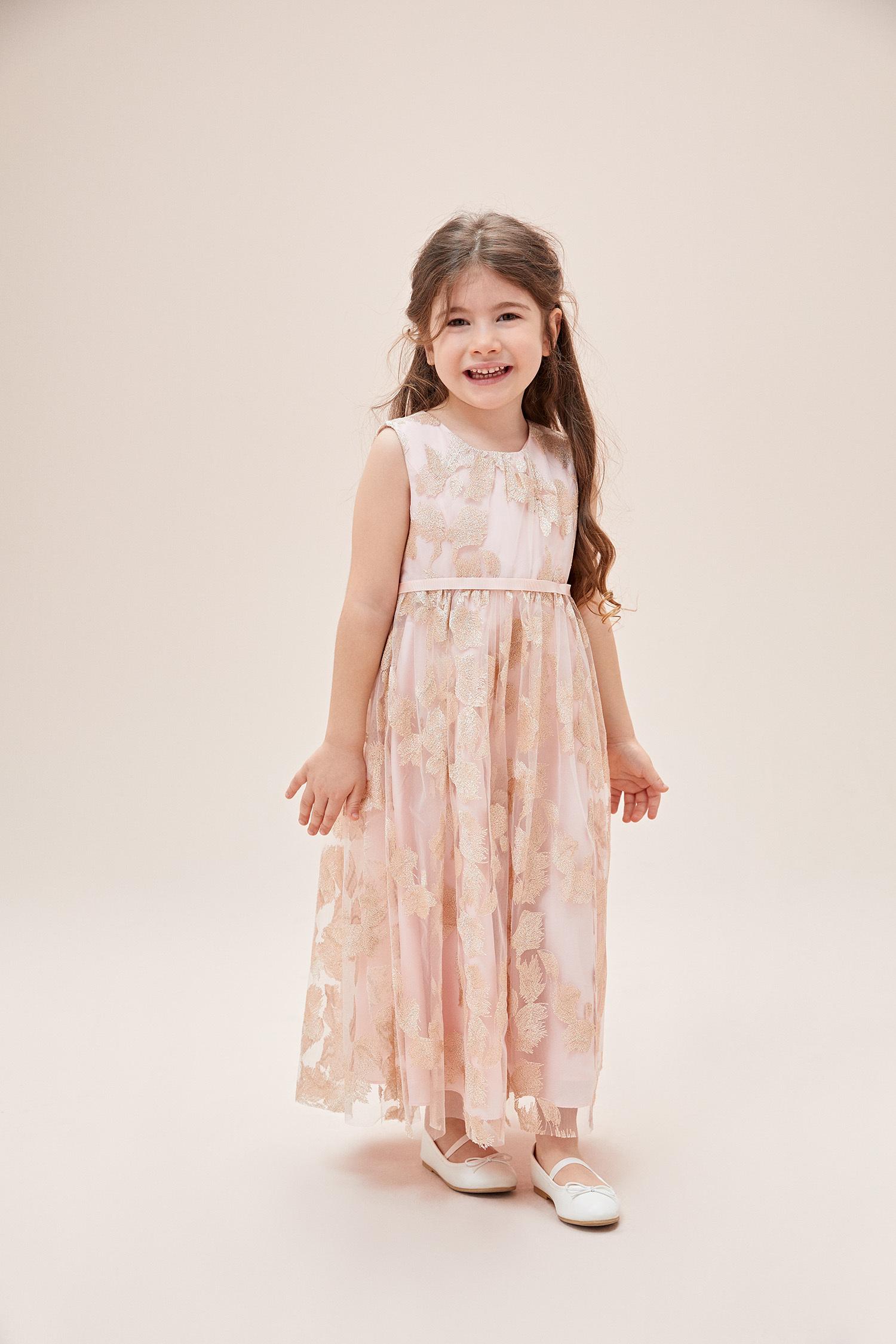 Toz Pembe Desenli Askılı Çocuk Elbisesi - Thumbnail
