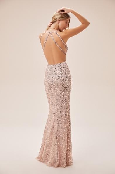 Viola Chan - Toz Pembe Payet İşlemeli Sırt Dekolteli Uzun Abiye Elbise (1)