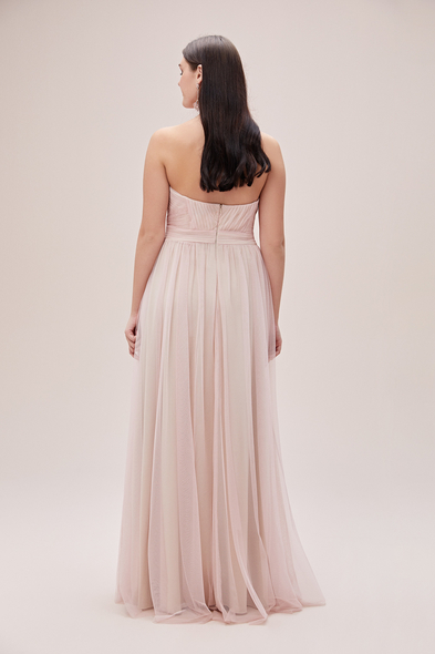Oleg Cassini - Toz Pembe Straplez Tül Etekli Romantik Büyük Beden Abiye Elbise (1)