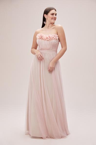 Oleg Cassini - Toz Pembe Straplez Tül Etekli Romantik Büyük Beden Abiye Elbise