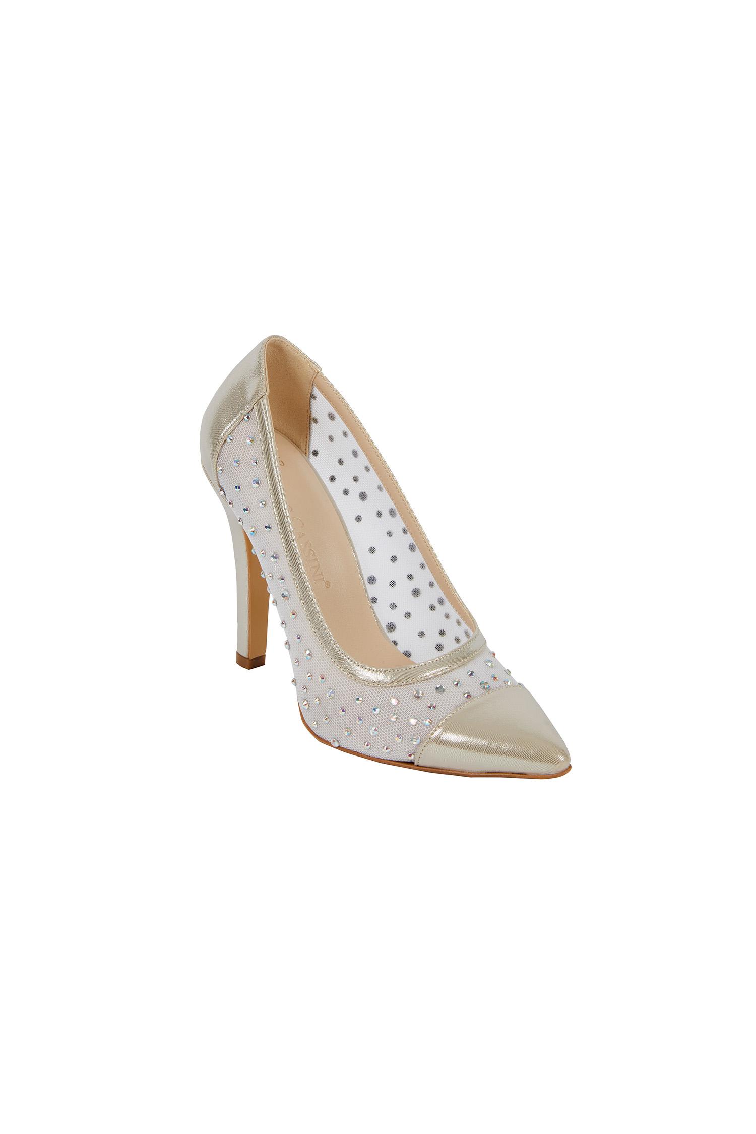 Transparan Detaylı Topuklu Gelin Ayakkabısı