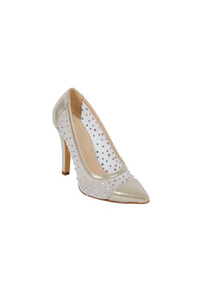 OLEG CASSINI TR - Transparan Detaylı Topuklu Gelin Ayakkabısı