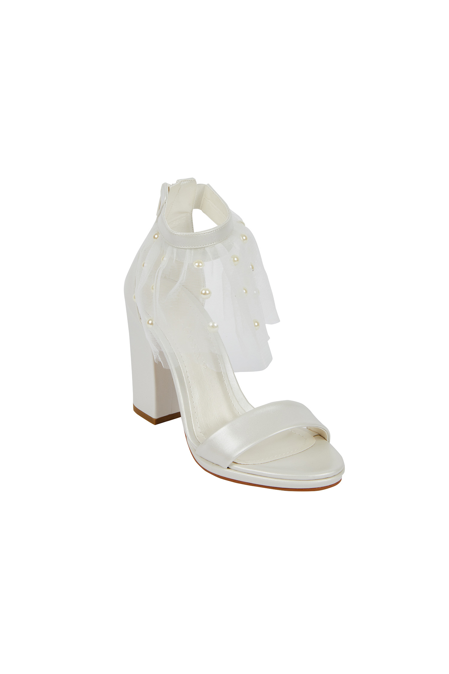 Tül Ve İnci Detaylı Topuklu Gelin Ayakkabısı