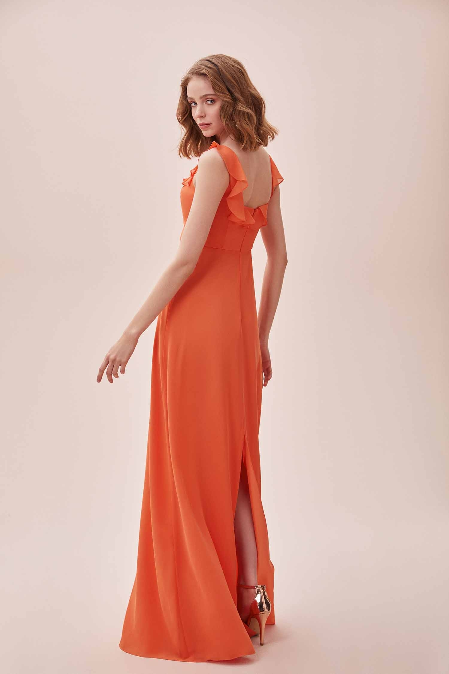Turuncu Fırfırlı Kare Yaka Şifon Uzun Elbise - Thumbnail