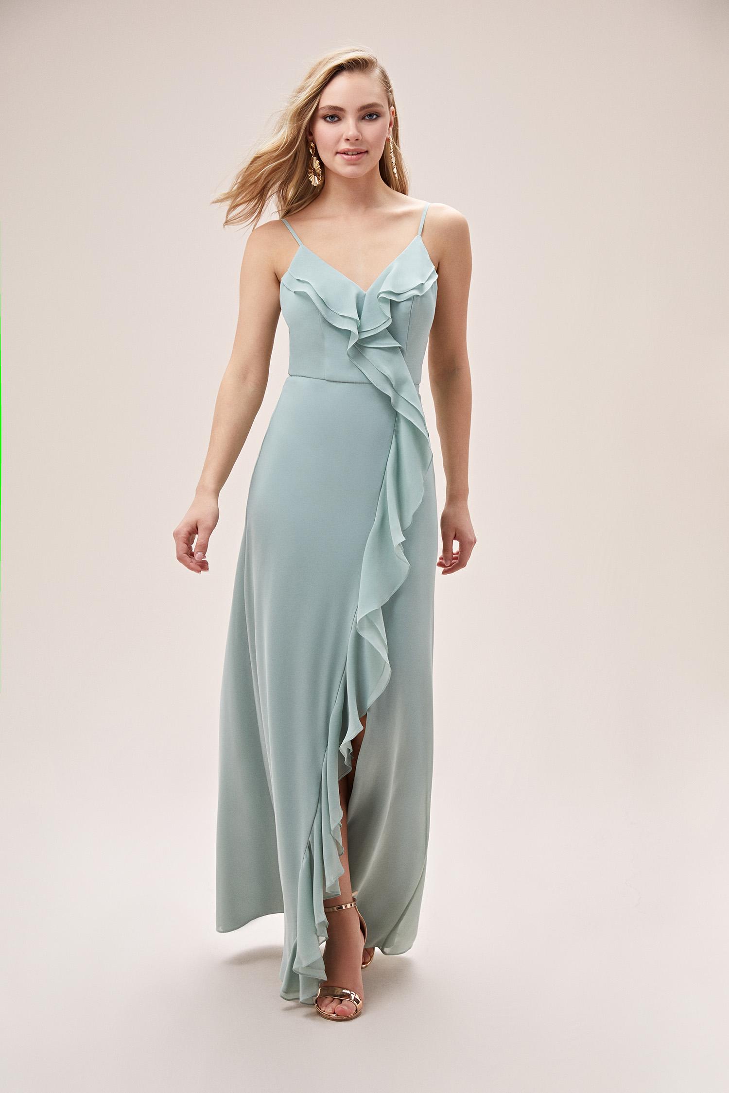 Uçuk Mavi Farbalalı Yırtmaçlı Şifon Elbise - Thumbnail