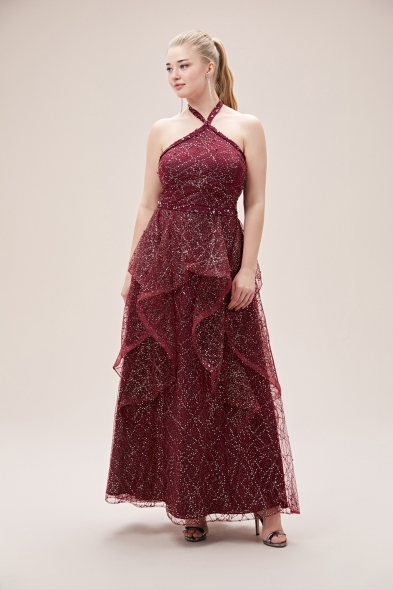 Viola Chan - Vişne Çürüğü Halter Yaka Kat Etekli Uzun Büyük Beden Abiye Elbise (1)