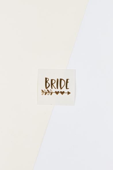 OLEG CASSINI TR - Yapıştırmalı Dövme Bride Yazılı Kalpli Oklu