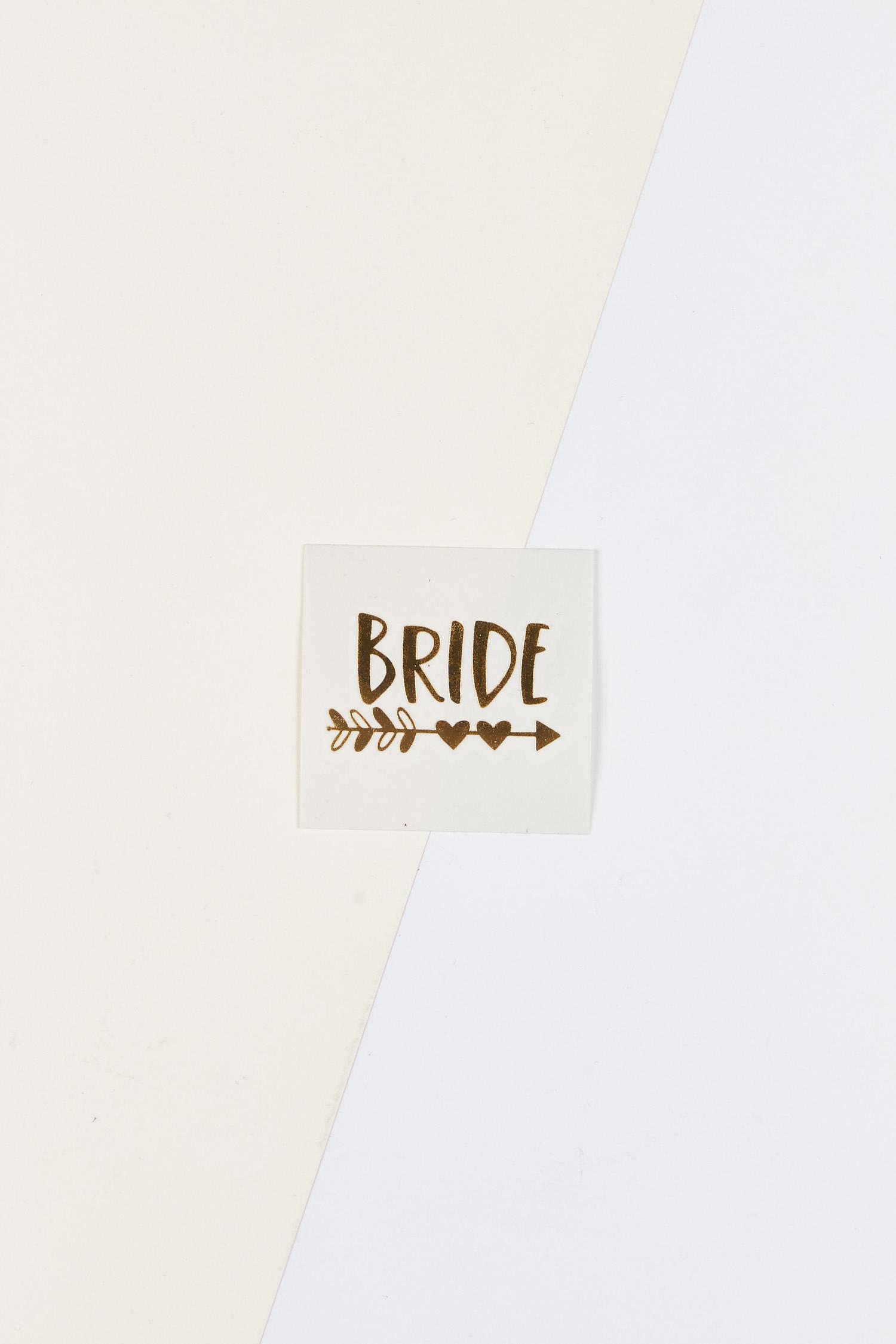 Yapıştırmalı Dövme Bride Yazılı Kalpli Oklu - Thumbnail