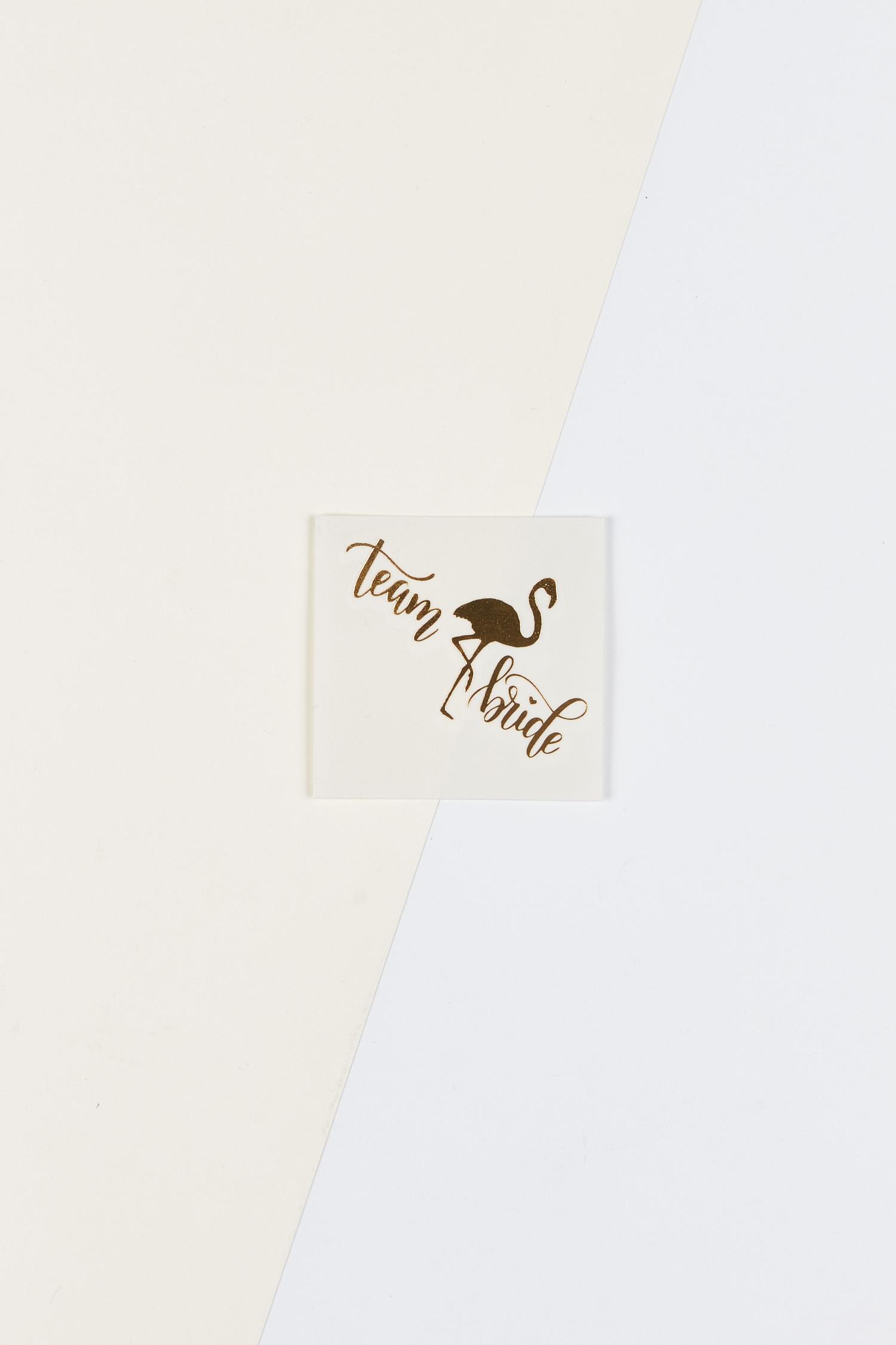 Yapıştırmalı Dövme Team Bride Yazılı Flamingolu - Thumbnail