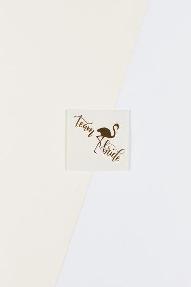 OLEG CASSINI TR - Yapıştırmalı Dövme Team Bride Yazılı Flamingolu