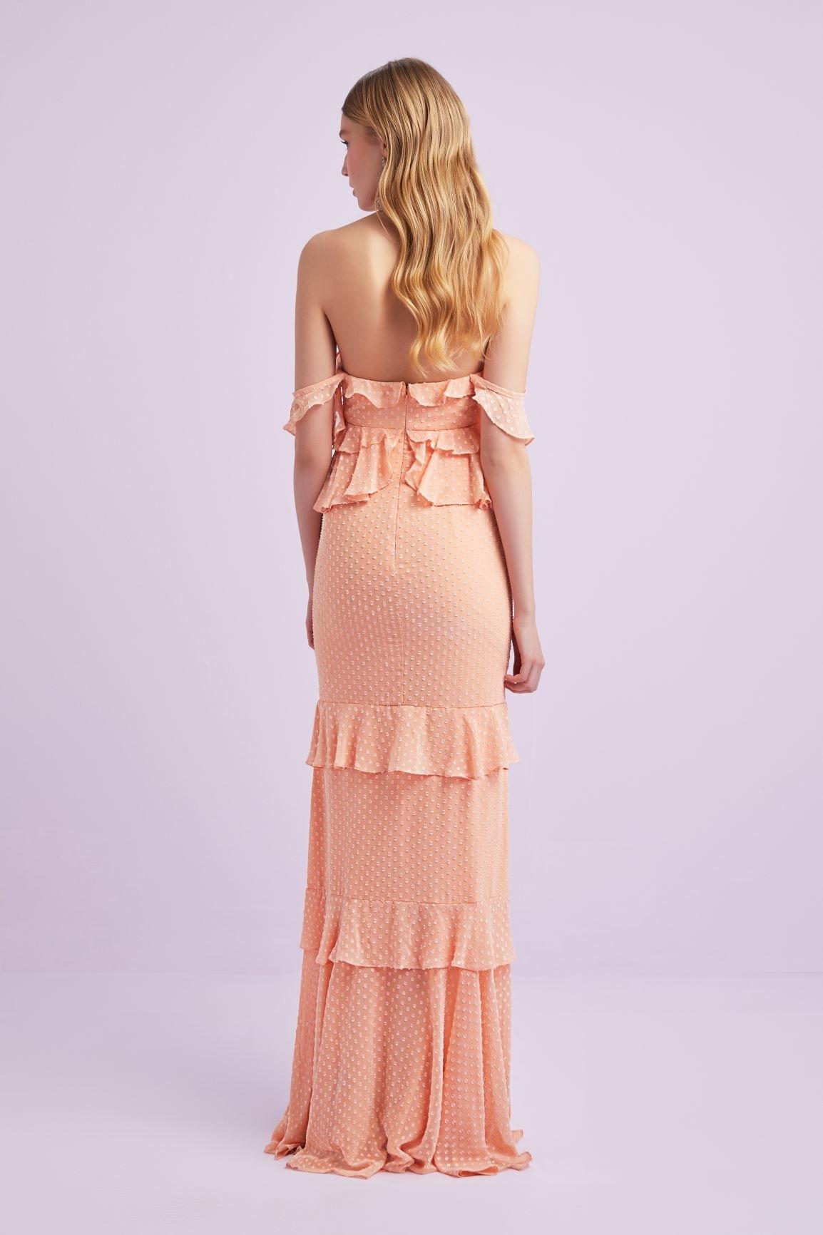 Yavruağzı Askılı Fırfırlı Şifon Uzun Elbise - Thumbnail