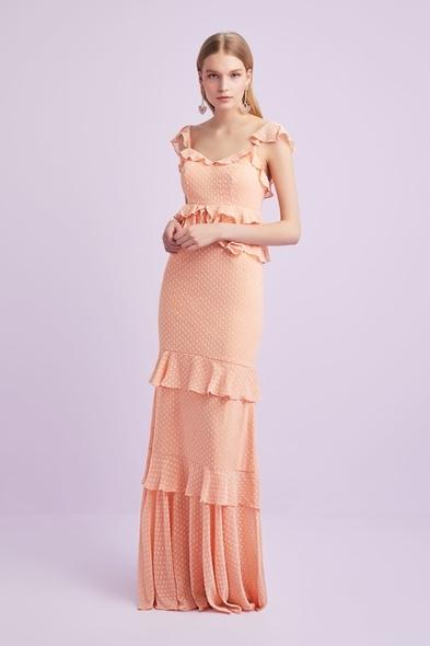 Viola Chan - Yavruağzı Askılı Fırfırlı Şifon Uzun Elbise