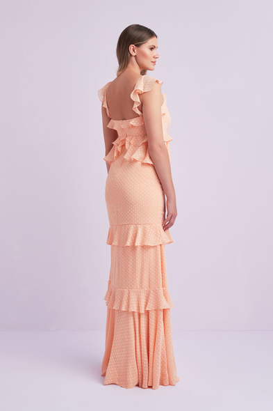 Viola Chan - Yavruağzı Şifon Askılı Uzun Büyük Beden Abiye Elbise (1)