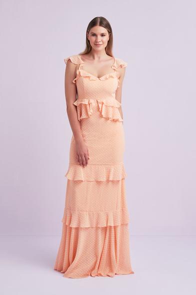 Viola Chan - Yavruağzı Askılı Fırfırlı Şifon Uzun Büyük Beden Elbise