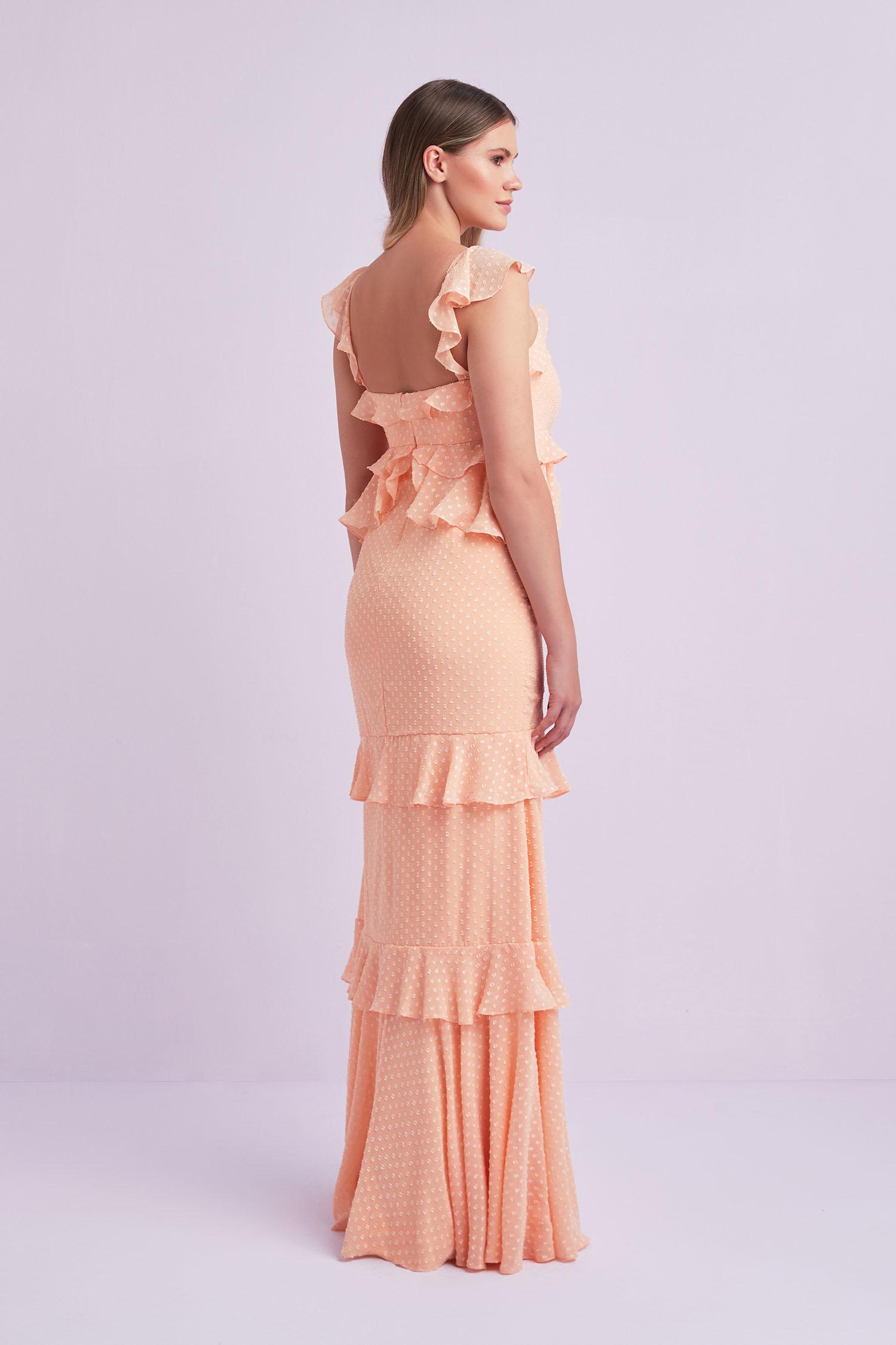 Yavruağzı Askılı Fırfırlı Şifon Uzun Büyük Beden Elbise - Thumbnail