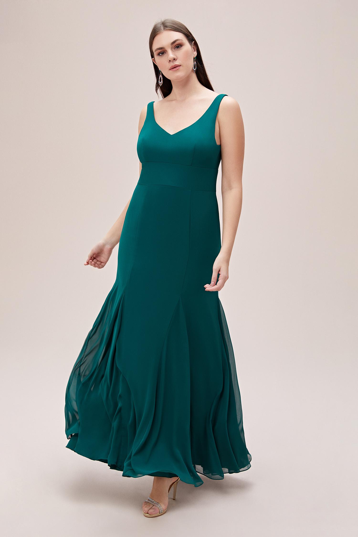Yeşil Askılı Pile Detaylı Şifon Uzun Büyük Beden Abiye Elbise - Thumbnail
