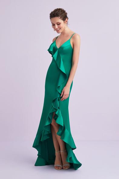 Yeşil İnce Askılı Farbala Detaylı Saten Uzun Elbise
