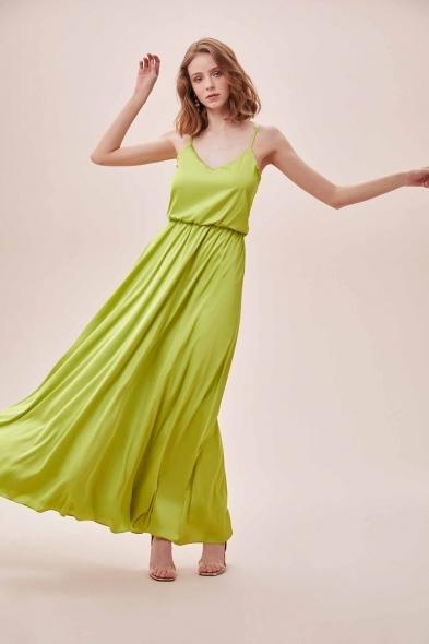 OLEG CASSINI TR - Yeşil İnce Askılı V Yaka Belden Büzgülü Uzun Saten Elbise (1)