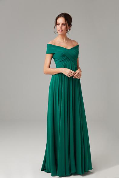 Alfa Beta - Yeşil Kayık Yaka Şifon Uzun Büyük Beden Abiye Elbise