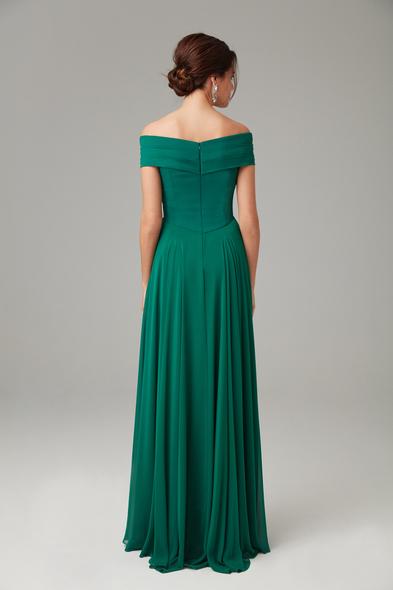 Alfa Beta - Yeşil Kayık Yaka Şifon Uzun Büyük Beden Abiye Elbise (1)