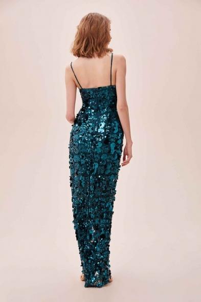 Alfa Beta - Yeşil Payet ve Pul İşlemeli İnce Askılı Yırtmaçlı Uzun Büyük Beden Elbise (1)
