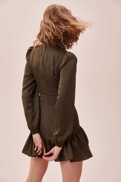 OLEG CASSINI TR - Yeşil Yüksek Yaka Uzun Kollu Eteği Fırfırlı Mini Saten Elbise (1)