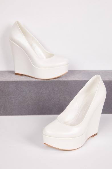 OLEG CASSINI TR - Yüksek Dolgu Topuklu Önü Kapalı Gelin Ayakkabısı